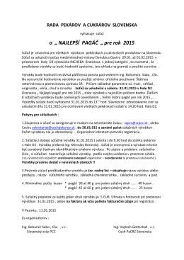 """o """" NAJLEPŠÍ PAGÁČ """" pre rok 2015"""