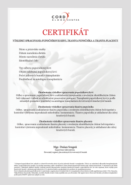 CERTIFIKÁT - Cord Blood Center
