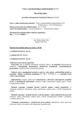 Ústav experimentálnej endokrinológie S A V Havarijný plán
