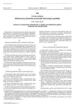 vyhláška č. 261/2010