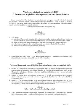 VZN č. 2/2013 O financovaní originálnych
