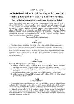 Návrh VZN č.22012, dotácia na žiaka