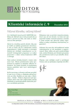 Klientské informácie č. 9 December 2012