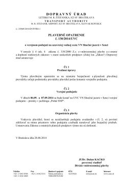 Plavebné opatrenie č. 130/2014/UVC