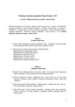 Všeobecne záväzné nariadenie Mesta Zvolen č. 133