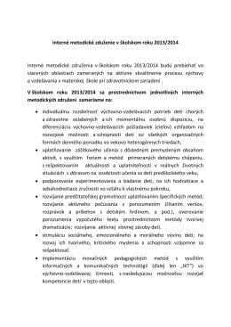 Plán interných metodických združeni 2013-2014
