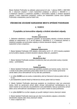 VZN 15_2012 o poplatku - Mesto Spišské Podhradie