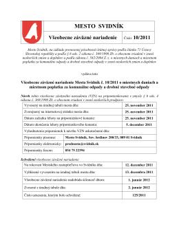 Všeobecne záväzné nariadenie Mesta Svidník č. 10/2011 o