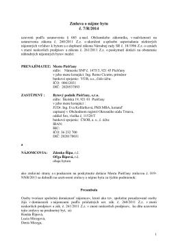 Zmluva o nájme bytu č. 7/R/2014