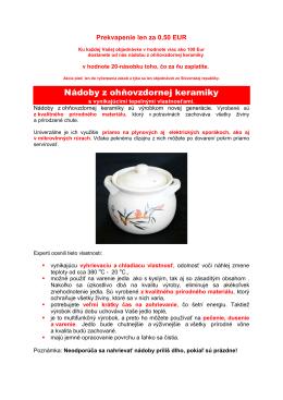 Nádoby z ohňovzdornej keramiky