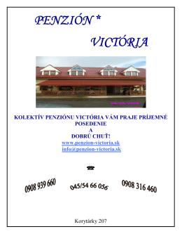 Jedálny lístok - Penzión Victoria