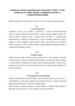 VZN č. 9-2011 o výške príspevku na režijné náklady
