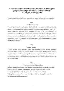 VZN č. 6/2011 o výške príspevku na režijné náklady