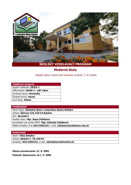 ISCED 2 - Základná škola s materskou školou Bolešov
