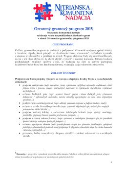 Otvorený grantový program 2015