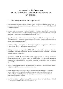RÁMCOVÝ PLÁN ČINNOSTI - Zväz obchodu a cestovného ruchu SR