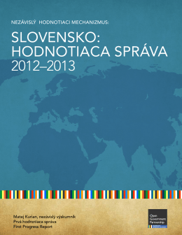 hodnotiaca správa 2012–2013 - Open Government Partnership