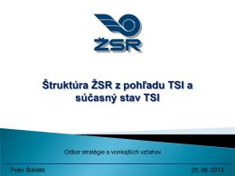 Štruktúra ŽSR z pohľadu TSI a súčasný stav TSI