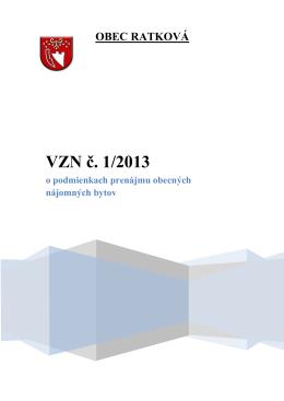 VZN č. 1/2013 o podmienkach prenájmu obecných