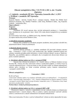 Zapisnica z 2 riadneho zasadnutia OZ obce