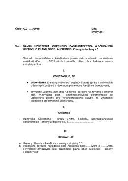 Návrh uznesenia obecného zastupiteľstva o schválení
