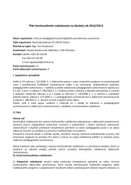 Plán kontinuálneho vzdelávania na školský rok 2012/2013