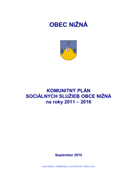 Komunitný plán sociálnych služieb obce Nižná na roky