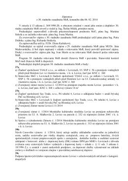 Zápisnica z 30. riadneho zasadnutia MsR, konaného