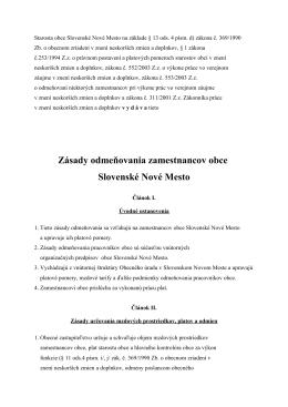 Zásady odmeňovania zamestnancov obce Slovenské Nové Mesto