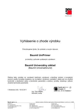 Certifikát Baumit univer.základ