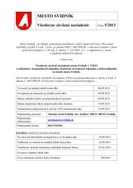 Všeobecne záväzné nariadenie mesta Svidník č. 5/2013 o