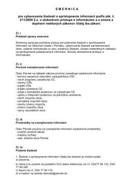 Povinné zverejňovanie informácií a spôsob zverejnenia