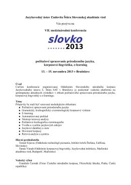 Prvá výzva - Slovenský národný korpus