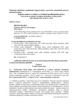 Kúpna zmluva a zmluva o zriadení predkupného práva