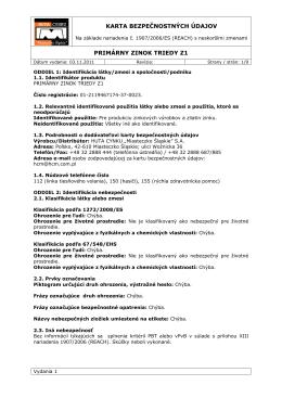 karta bezpečnostných údajov primárny zinok triedy z1