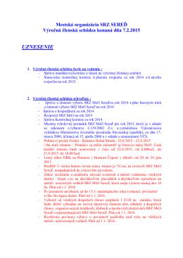 Uznesenie VČS a plán hlavných úloh na rok