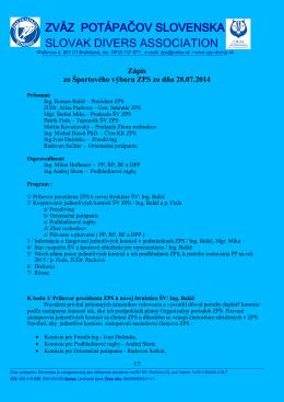 Zapis zo zasadnutia SV - Zväz potápačov Slovenska
