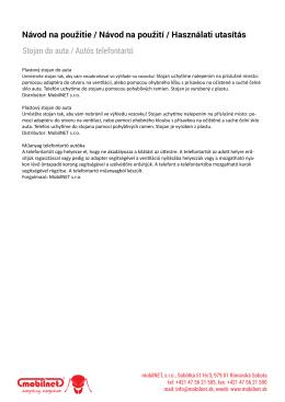 Návod na použitie / Návod na použití / Használati