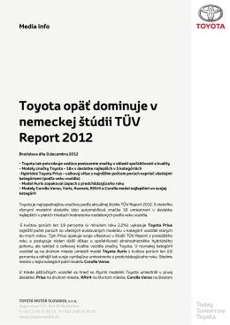 Toyota opäť dominuje v nemeckej štúdii TÜV - toyota