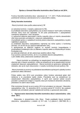 Správa o činnosti za rok 2014