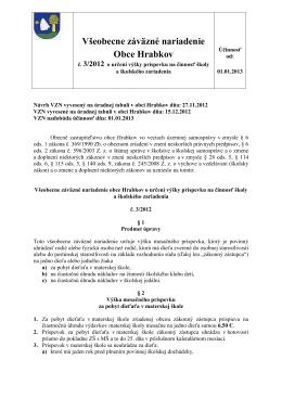 VZN č. 3-2012 o určení výšky príspevku na činnosť školy a