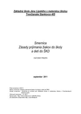 Smernica - Základná škola J.Lipského s materskou školou