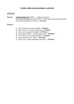 Výsledky volieb starostu a poslancov v našej obci ZVOLENÍ