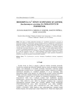 iónov suspenziou kvasiniek - Nova Biotechnologica et Chimica