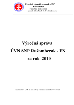 Výročná správa 2010.pdf - Ústredná vojenská nemocnica SNP