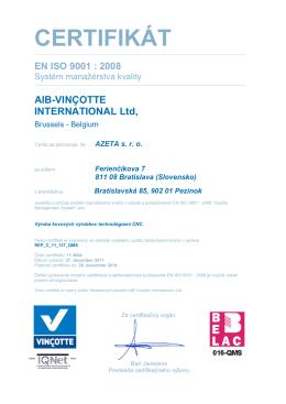 systém manažérstva kvality EN ISO 9001