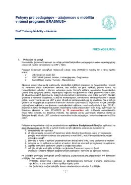 Informácie pre pracovníkov VŠ