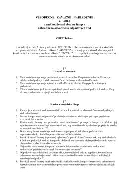 VŠEOBECNE ZÁVÄZNÉ NARIADENIE č. /2013 o