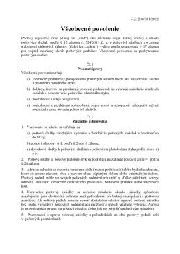 Všeobecné povolenie na poskytovanie poštových služieb