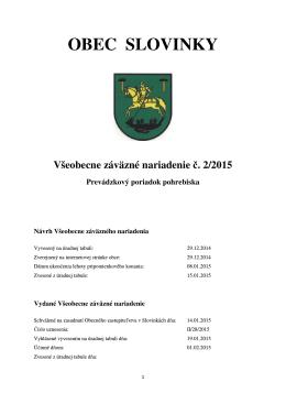 č. 2/2015 Prevádzkový poriadok pohrebiska